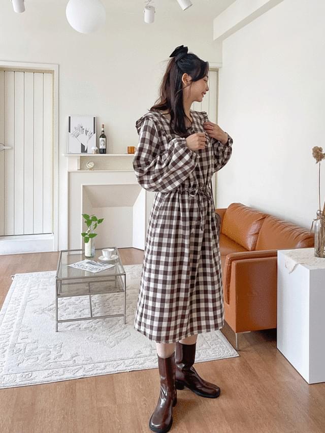 Big Size 55-99 Sinon Check Ruffle Collar Long Dress