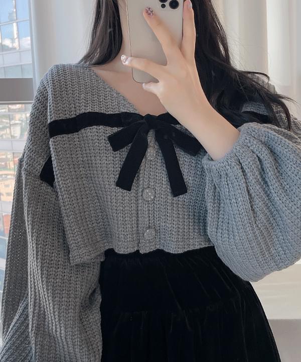 Boimit Ribbon Crop Knitwear Cardigan 3color