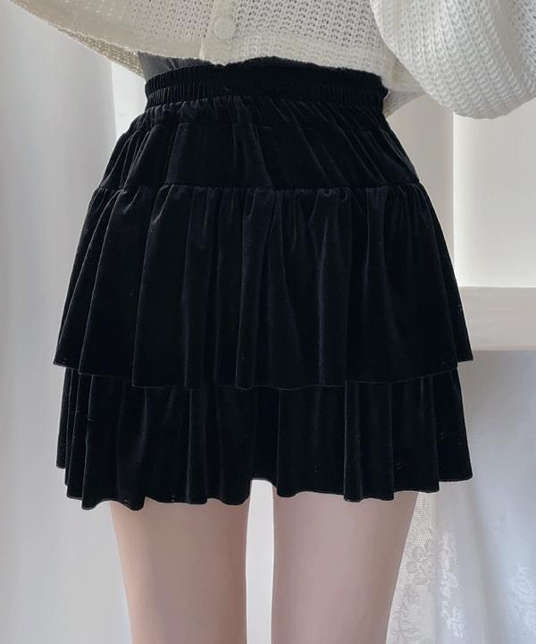 Wends Velvet Cancan Skirt Pants 3color