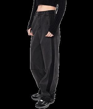Side Stripe Wide-Leg Black Pants