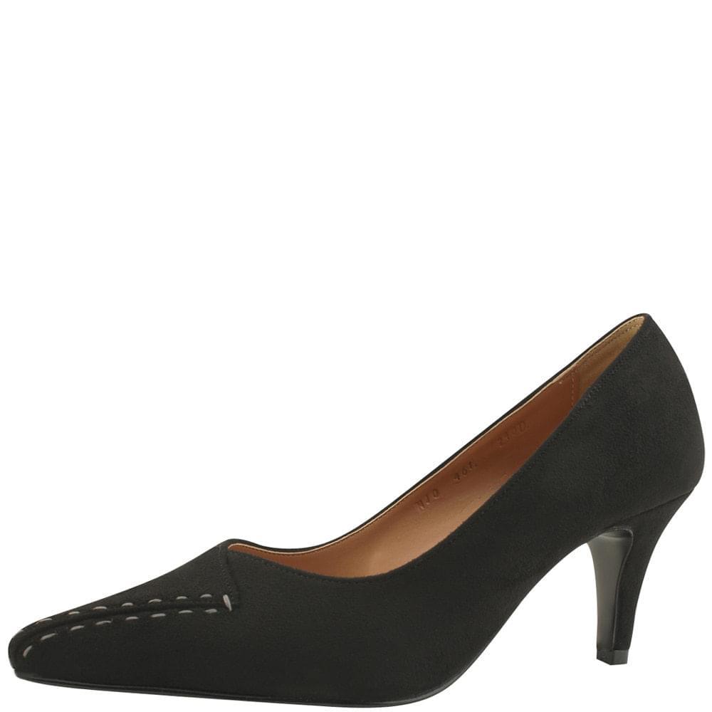 Unbalanced Stitch Stiletto High Heels Black