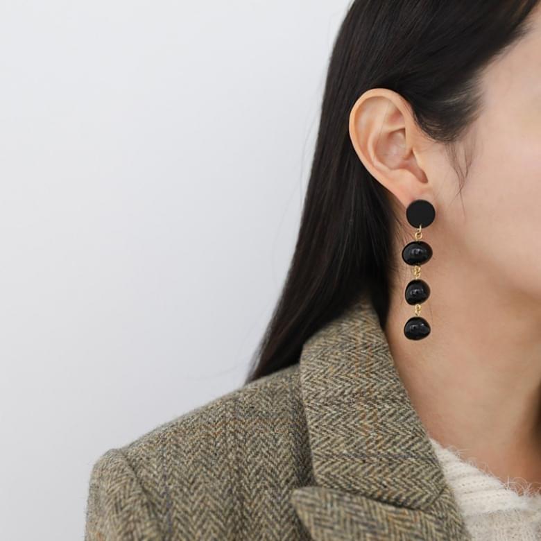 Onyx Drop Nickel-Free Stitch Earrings