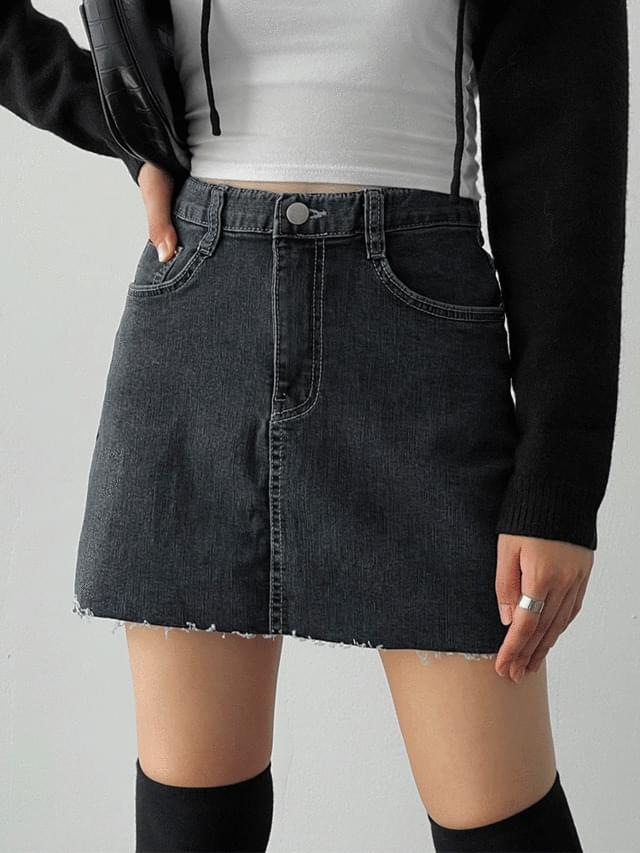 Managed Gray Denim Mini Skirt