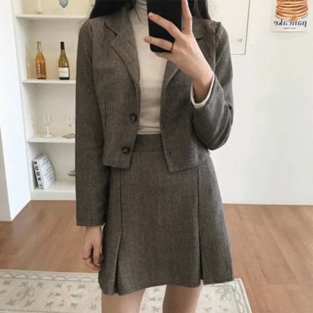 Herringbone Jacket + Skirt Set