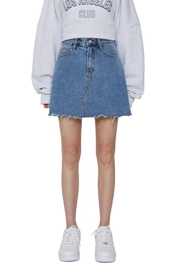 Water cut denim mini skirt