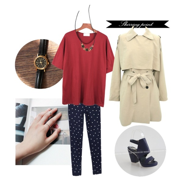 daily monday Casio simple look watch(2colors),daily monday Two lines Knuckle Ring(silver 925Cleaning set),MONOBARBIE [RS1441] 튜블Ivory/Brown/Navy 9.5cm등을 매치한 코디