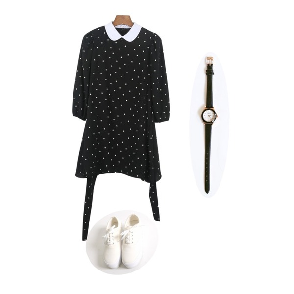 YOU & ME Black & white platform,daily monday Round line leather watch,daily monday 7-Dot wrap tulip onepiece[원피스,드레스,도트]등을 매치한 코디