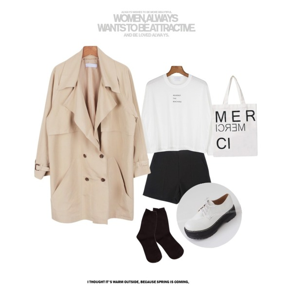 daily monday Codez Burberry jacket,daily monday Against round tee,YOU & ME 이브팬츠등을 매치한 코디