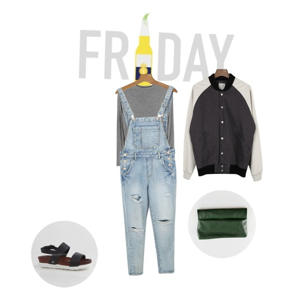 daily monday Unique denim overalls pants,TGIF,daily monday Neat silhouette standard top[탑,이너,티,반하이넥,슬림핏,무지티,긴팔]등을 매치한 코디