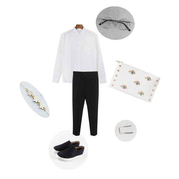daily monday Quality China linen shirt,daily monday Unique frame glasses,daily monday Smooth styling slip-on[슬립온,신발,슈즈]등을 매치한 코디