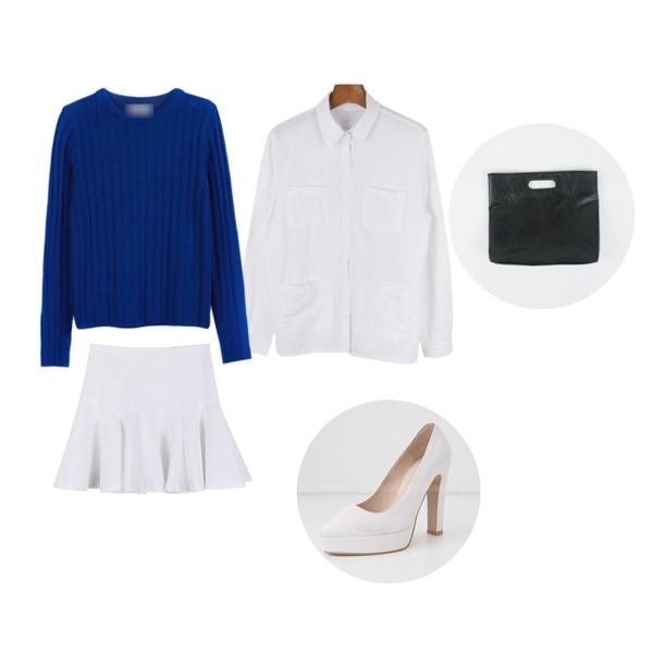 daily monday Variety outer-shirt,daily monday Crown line flare skirt,YOU & ME 미니골지니트등을 매치한 코디