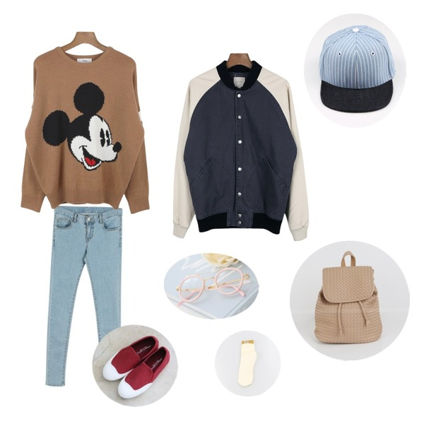 daily monday Soft blue ton skinny pants,Rough & Detail monk slip-on, shoes,daily monday Mickey face knit[미키페이스니트,미키티,디즈니티,디즈니니트,미키니트,미키옷]등을 매치한 코디