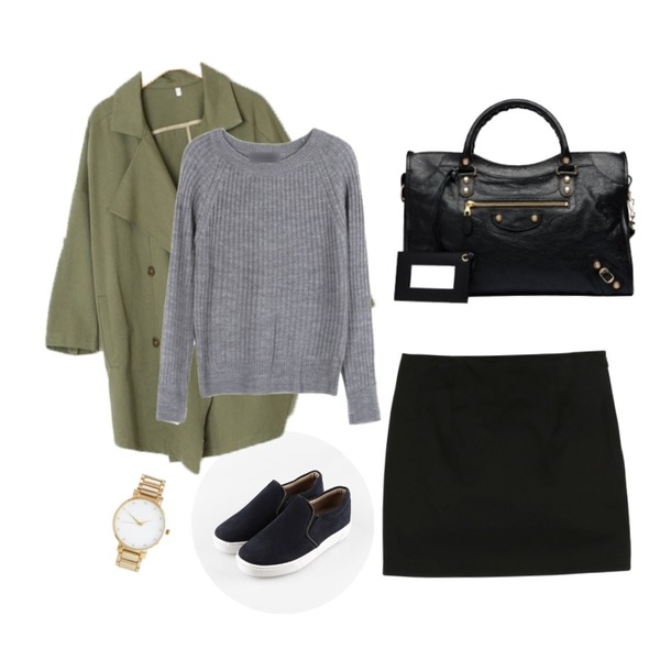 Rough & Detail 루즈핏 숄더 자켓,daily monday Valuable pastel skirt,daily monday Smooth styling slip-on[슬립온,신발,슈즈]등을 매치한 코디