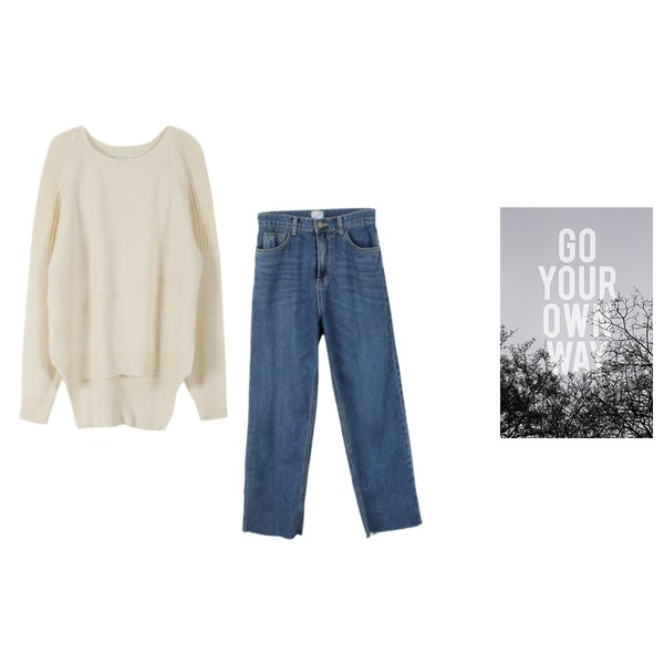 daily monday Trendy wide fit denim pants,go your own way,YOU & ME 더치라운드니트등을 매치한 코디