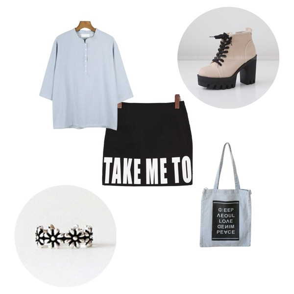 FAPEKO 테이크(프린팅 스컷),daily monday Button henryneck blouse,daily monday Flower Toe Ring(silver 925)등을 매치한 코디