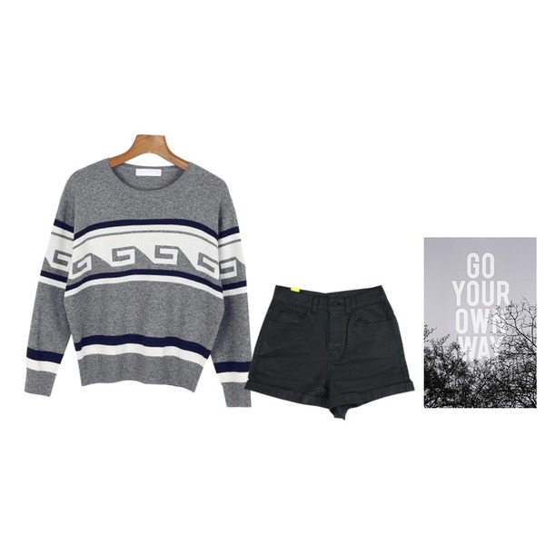 SALON DE BYME 1/ 2 GLOSSY SHORTS,go your own way,daily monday Wave jacquard knit[니트,자가드패턴,무늬,패턴]등을 매치한 코디
