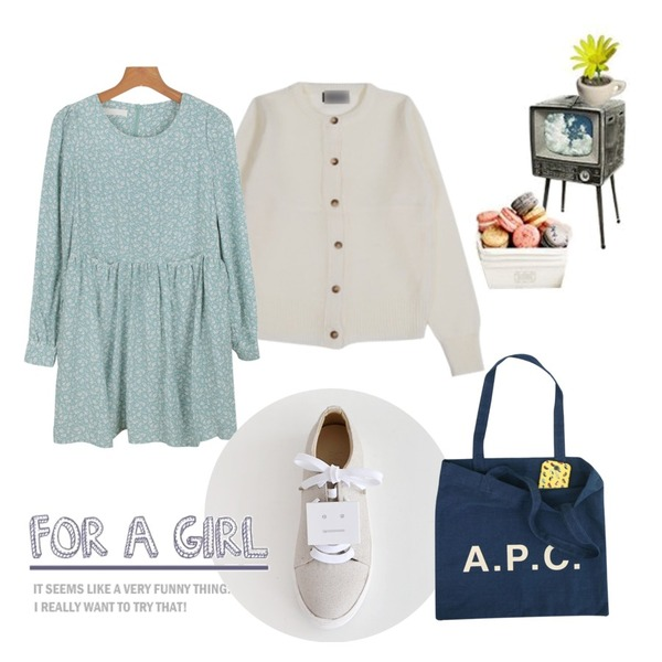 daily monday Floral pocket  one-piece,YOU & ME A Round cardigan,MONOBARBIE [RL0631] 아크* 스니커즈White/Silver/Black 3cm등을 매치한 코디