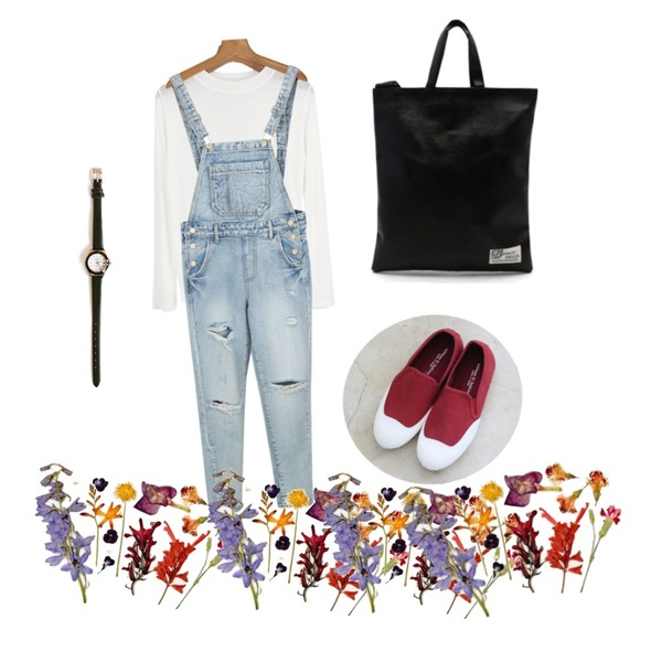 daily monday Unique denim overalls pants,daily monday Round line leather watch,daily monday Neat silhouette standard top[탑,이너,티,반하이넥,슬림핏,무지티,긴팔]등을 매치한 코디