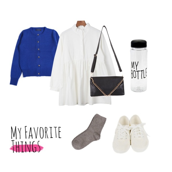 daily monday Shirring cotton one-piece,daily monday All white sneakers,YOU & ME A Round cardigan등을 매치한 코디