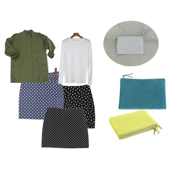 daily monday Leather hard clutch(3colors),daily monday Wool color pouch,YOU & ME 트리오백등을 매치한 코디
