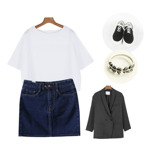 daily monday Clean round linen blouse,daily monday Step up high sneakers[스니커즈,통굽,운동화,슈즈],Rough & Detail double button denim, sk등을 매치한 코디