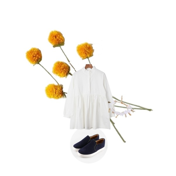 daily monday Shirring cotton one-piece,daily monday Smooth styling slip-on[슬립온,신발,슈즈],yellow flower등을 매치한 코디