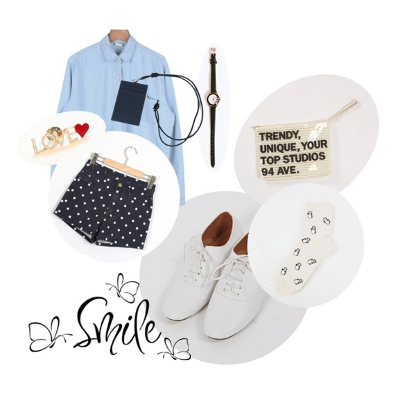 daily monday Long outer denim shirt,daily monday Round line leather watch,YOU & ME 모스옥스포드등을 매치한 코디
