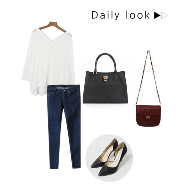YOU & ME bella tote bag,daily monday Both Sides V shirring blouse,Rough & Detail blue chip s skinny, pt등을 매치한 코디