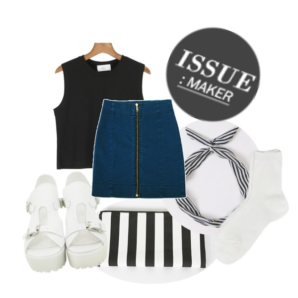 BROWNBUNNY belted clipper,daily monday Daily crop sleeveless,daily monday Cruise stripe clutch bag[가방,클러치,클러치백]등을 매치한 코디