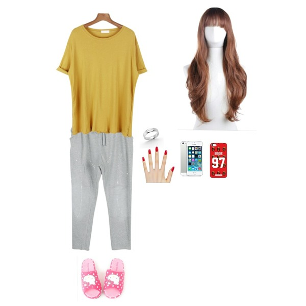 daily monday Muji roll-up color tee,daily monday Sprinkle training pants,ㅜ등을 매치한 코디