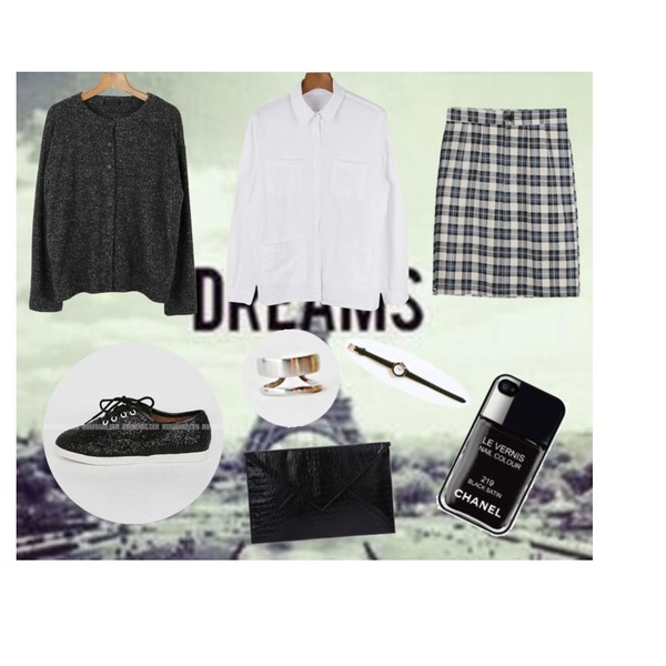 daily monday Variety outer-shirt,daily monday Well-done check skirt[체크스커트,여자치마,가을스커트],dreams등을 매치한 코디