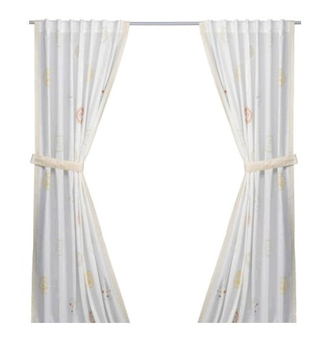 FABLER KAMRATER Pair of curtains with tie-backs