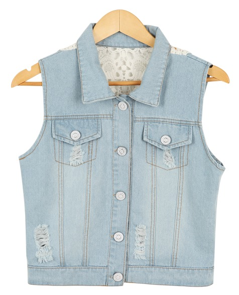 back embroidery denim, vest