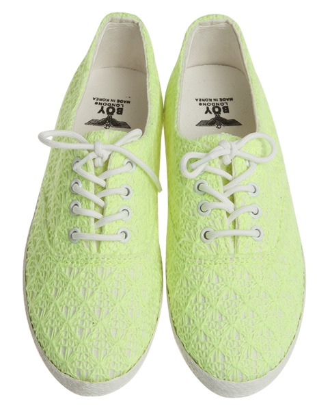 fluorescent knit flat, shoes