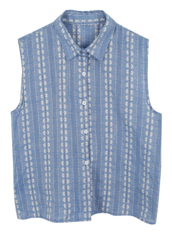 embroidery sleeveless, bl