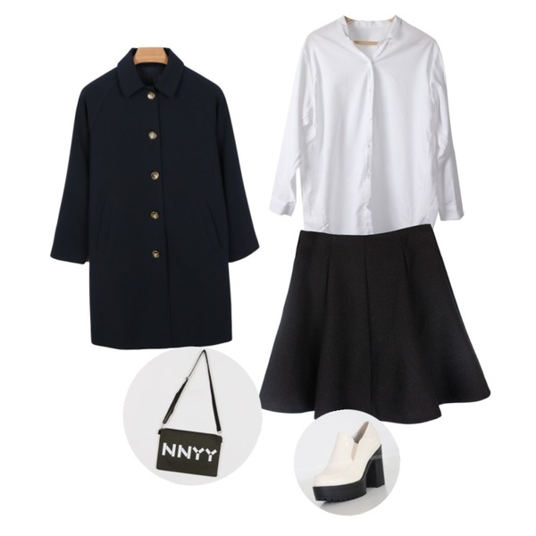 Prost J 타임 블라우스 (2colors),biznshoe Flared band skirt (2color),daily monday Casual medium coat등을 매치한 코디