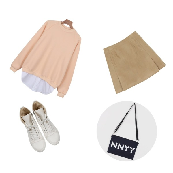 daily monday Napping novel a-line skirt[스커트,바텀,모직스커트],daily monday Shirt layered man to man,Rough & Detail simple high, shoes_white등을 매치한 코디