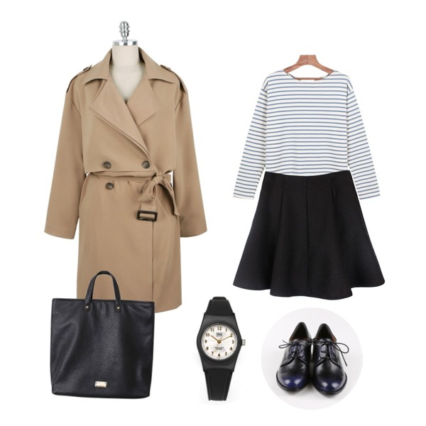 biznshoe Flared band skirt (2color),daily monday Classy trench coat,daily monday Colorful stripe tee등을 매치한 코디