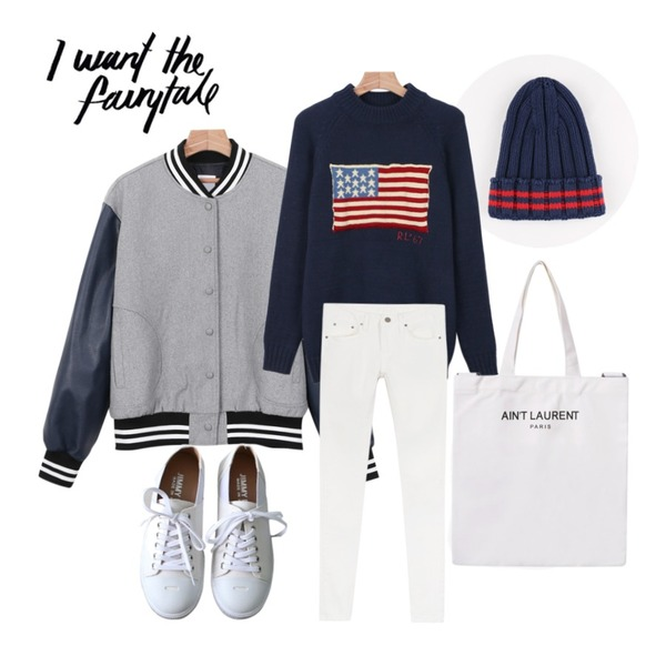 daily monday Stripe point beanie,daily monday U.S flag knit,daily monday Leather daily stadium jumper등을 매치한 코디
