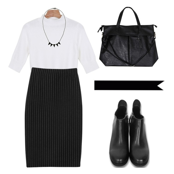 daily monday Mood slim knit tee,Zemma World 앵클러 (5cm heel),biznshoe Band midi skirt (2type)등을 매치한 코디