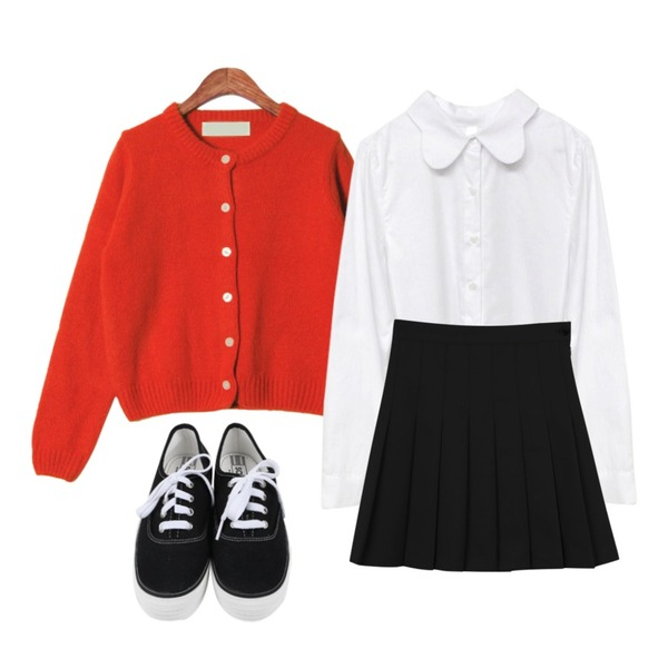 Rough & Detail butterfly, nb_white,Zemma World Basic color cardigan,daily monday Spring pleats skirt등을 매치한 코디