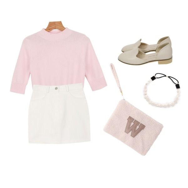 Rough & Detail side open flat, shoes_beige,daily monday Mood slim knit tee,daily monday Basic pastel skirt등을 매치한 코디