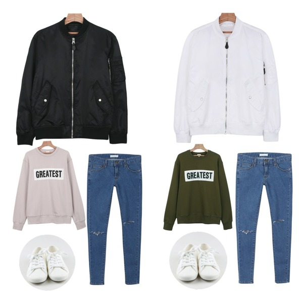 daily monday Loose greatest man to man,daily monday Glossy basic flight jumper,daily monday Glossy basic flight jumper등을 매치한 코디