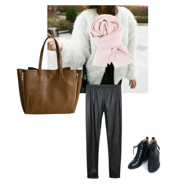 daily monday Sparkling chic leather leggings,daily monday [머플러이벤트]Simple soft color muffler,흰색고릴라등을 매치한 코디