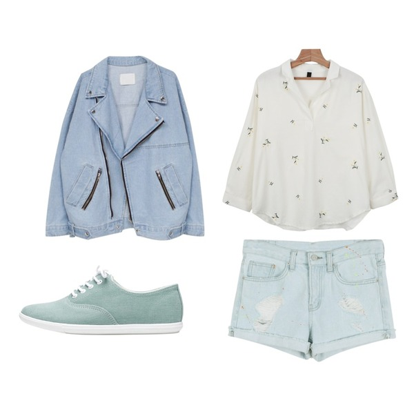 biznshoe Simple cotton sneakers (4color),daily monday Painting damage ice shorts,daily monday Flower V-neck collar blouse등을 매치한 코디