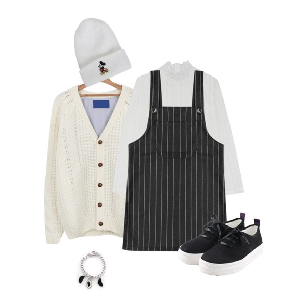 daily monday Patch over cardigan,MIND ME 프릴 레이스 레이어드 bl,Rough & Detail bob stripe overalls, sk_charcoal등을 매치한 코디