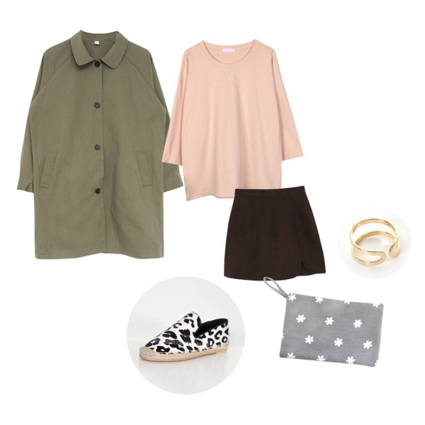 daily monday New warm under open skirt[스커트,치마],biznshoe Simple cotton tee (3color),MIND ME 트렌치 스트레이트핏 코트등을 매치한 코디