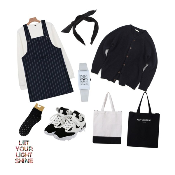 Zemma World Knit Blouson ,MIND ME 벨벳 리본 헤어밴드,Rough & Detail ruru mesh dot, socks_black등을 매치한 코디