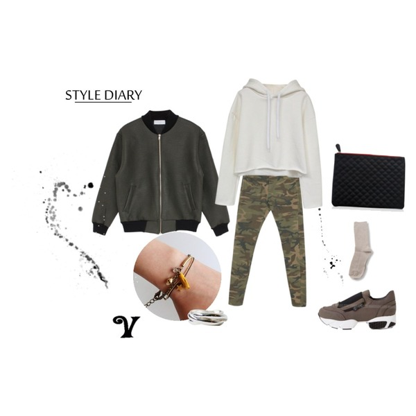 daily monday Camouflage skinny pants,Rough & Detail crop cutting hood napping, t,biznshoe Leather zipper jumper (3color)등을 매치한 코디