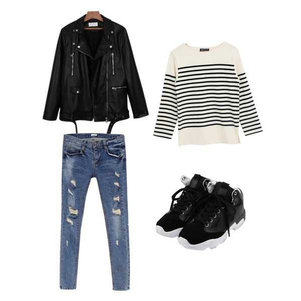 Rough & Detail split skinny, pt_blue,daily monday Color mix sneakers,daily monday Formal leather jacket등을 매치한 코디